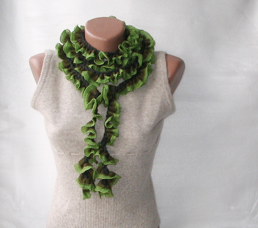 Green Crochet Ruffled Scarf On Luulla